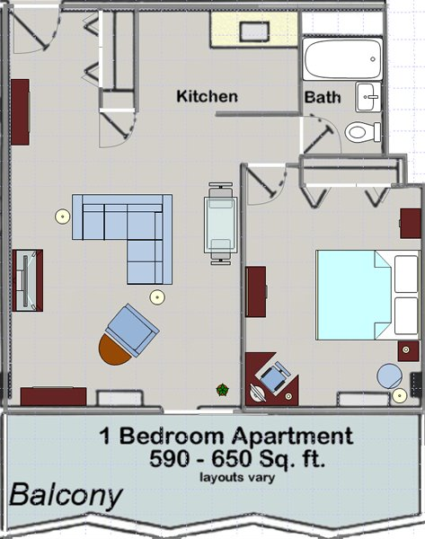 1 Bedroom 1 Bathroom Apartment for rent at Huron Towers in Ann Arbor, MI