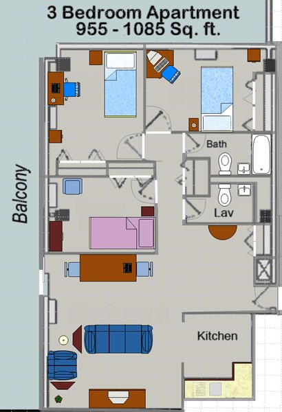 3 Bedrooms 2 Bathrooms Apartment for rent at Huron Towers in Ann Arbor, MI