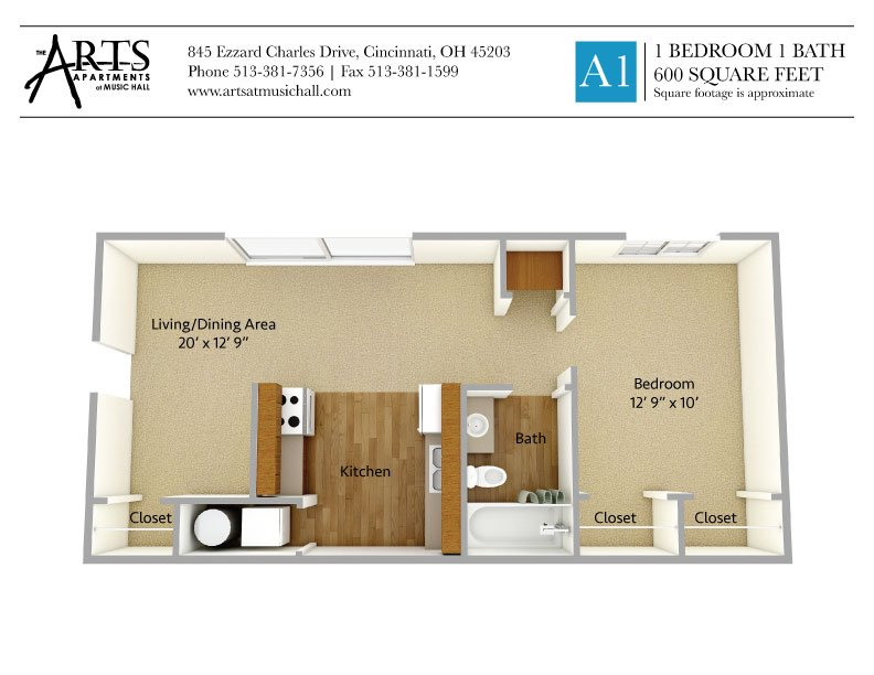 1 Bedroom 1 Bathroom Apartment for rent at The Arts Apartments At Music Hall in Cincinnati, OH