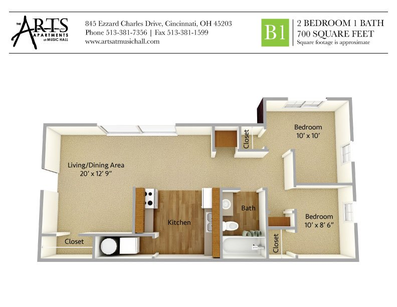 2 Bedrooms 1 Bathroom Apartment for rent at The Arts Apartments At Music Hall in Cincinnati, OH
