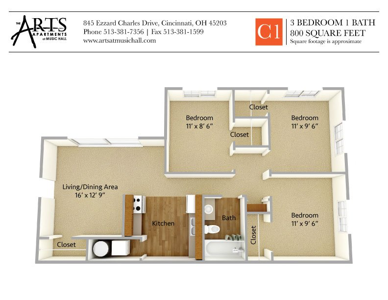 3 Bedrooms 1 Bathroom Apartment for rent at The Arts Apartments At Music Hall in Cincinnati, OH