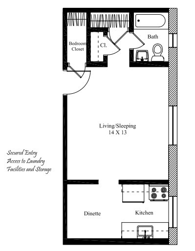 Studio 1 Bathroom Apartment for rent at The Telford in Cincinnati, OH