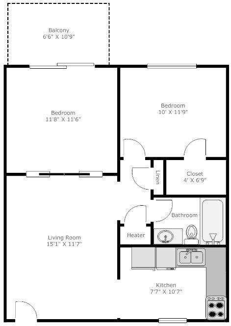 1 Bedroom 1 Bathroom Apartment for rent at Stadium Village in Atehns, GA