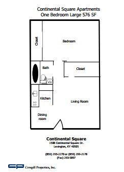 1 Bedroom 1 Bathroom Apartment for rent at Continental Square in Lexington, KY
