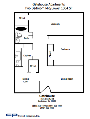 2 Bedrooms 1 Bathroom Apartment for rent at Gatehouse in Lexington, KY