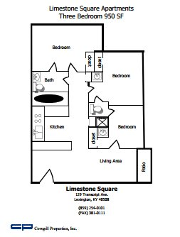 3 Bedrooms 2 Bathrooms Apartment for rent at Limestone Square in Lexington, KY