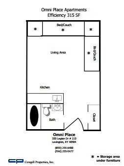 Studio 1 Bathroom Apartment for rent at Omni Place in Lexington, KY