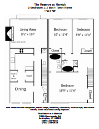 3 Bedrooms 3 Bathrooms Apartment for rent at The Reserve At Merrick in Lexington, KY