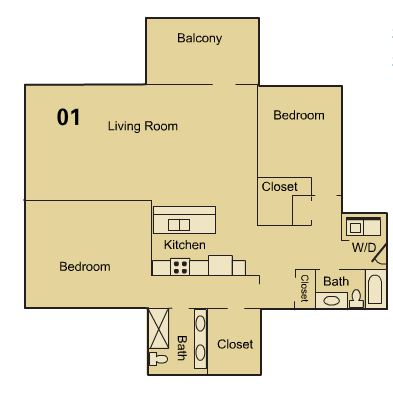 2 Bedrooms 2 Bathrooms Apartment for rent at Fountains Lofts in Kansas City, MO