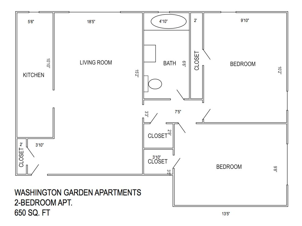 2 Bedrooms 1 Bathroom Apartment for rent at Washington Garden Apartments in Kansas City, MO