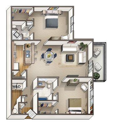 2 Bedrooms 2 Bathrooms Apartment for rent at Blankenbaker Crossings in Louisville, KY