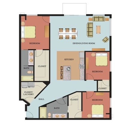 3 Bedrooms 2 Bathrooms Apartment for rent at Waterside At Riverpark Place in Louisville, KY