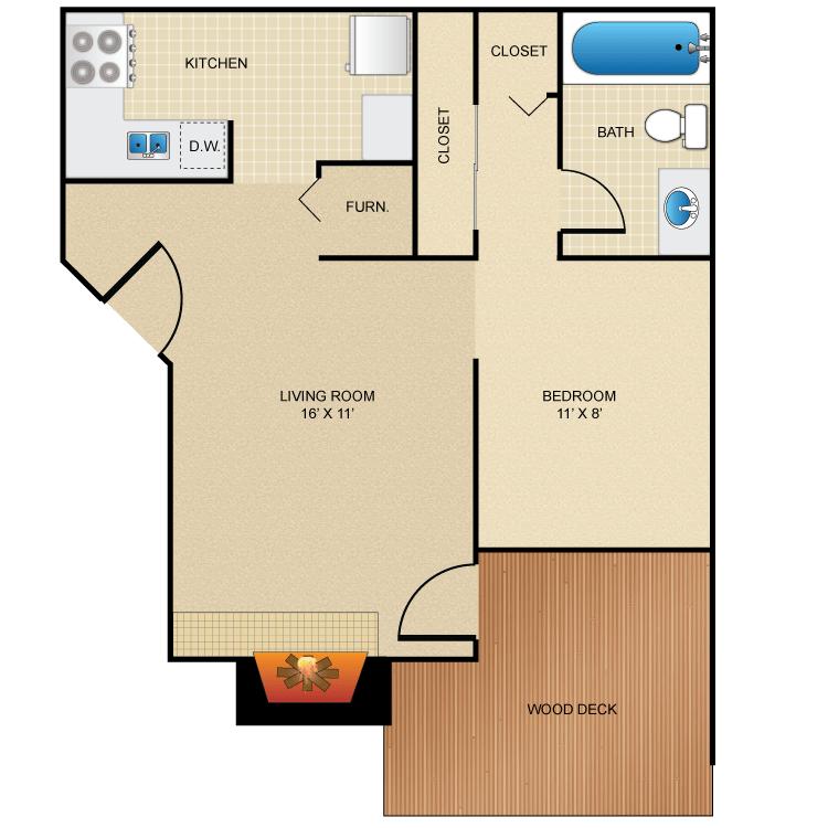 1 Bedroom 1 Bathroom Apartment for rent at Rainbow Ridge Apartments in Kansas City, KS