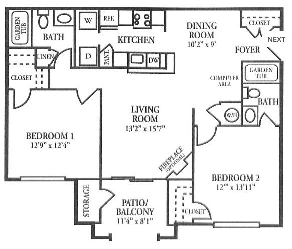 2 Bedrooms 2 Bathrooms Apartment for rent at Villas Of Forest Springs in Louisville, KY