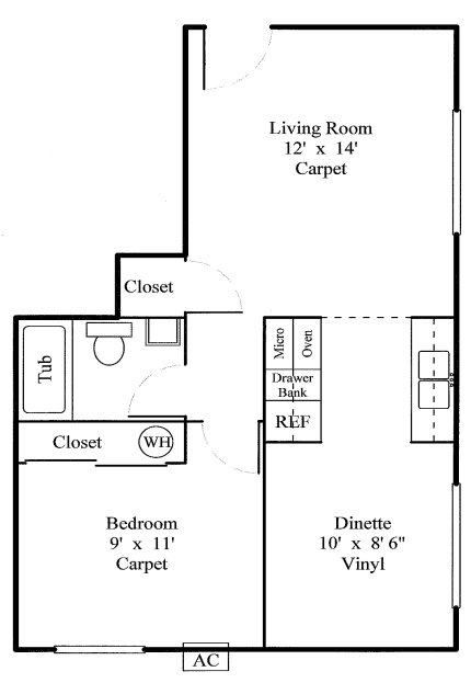 1 Bedroom 1 Bathroom Apartment for rent at Monroe Garden Apartments in Sylvania, OH