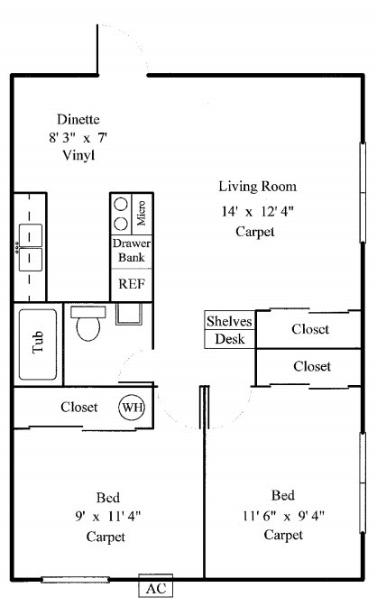 2 Bedrooms 1 Bathroom Apartment for rent at Monroe Garden Apartments in Sylvania, OH