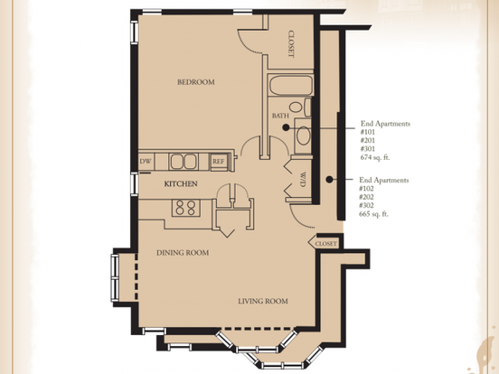 1 Bedroom 1 Bathroom Apartment for rent at Quality Hill Apartments in Kansas City, MO
