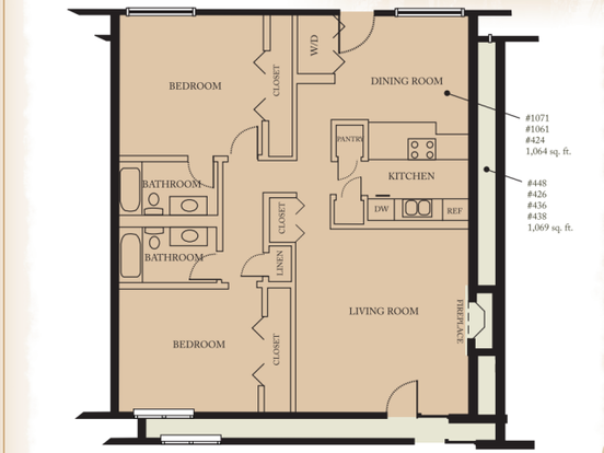 2 Bedrooms 2 Bathrooms Apartment for rent at Quality Hill Apartments in Kansas City, MO