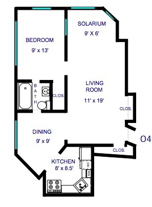1 Bedroom 1 Bathroom Apartment for rent at Carlyle Apartments in Kansas City, MO