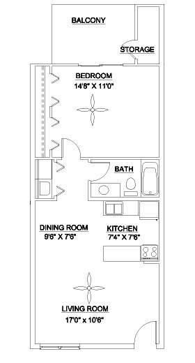 1 Bedroom 1 Bathroom Apartment for rent at Lenox East & West in Durham, NC