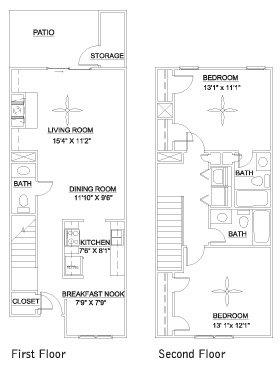 2 Bedrooms 3 Bathrooms Apartment for rent at Pine Ridge in Durham,