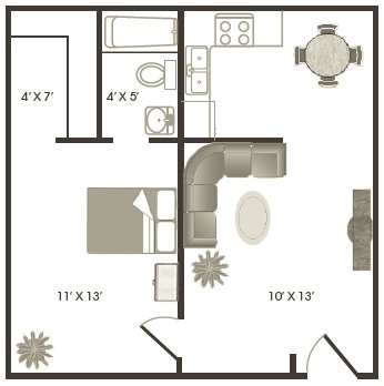 1 Bedroom 1 Bathroom Apartment for rent at Saddle Cove Townhomes in Gainesville, FL