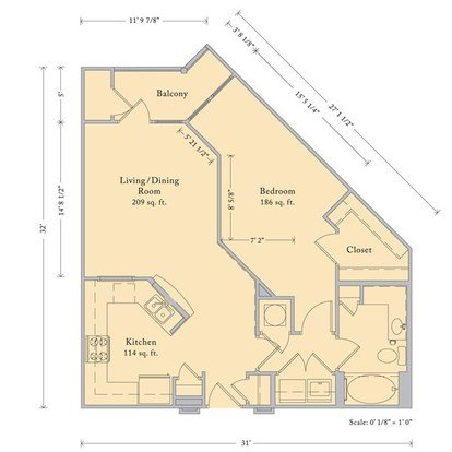 1 Bedroom 1 Bathroom Apartment for rent at The Bartram in Gainesville, FL