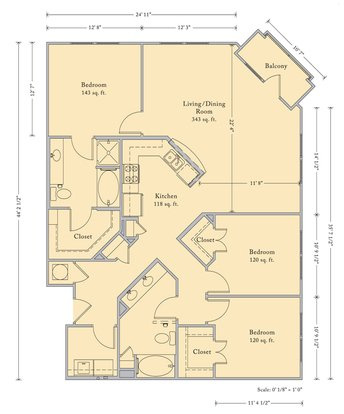 3 Bedrooms 2 Bathrooms Apartment for rent at The Bartram in Gainesville, FL