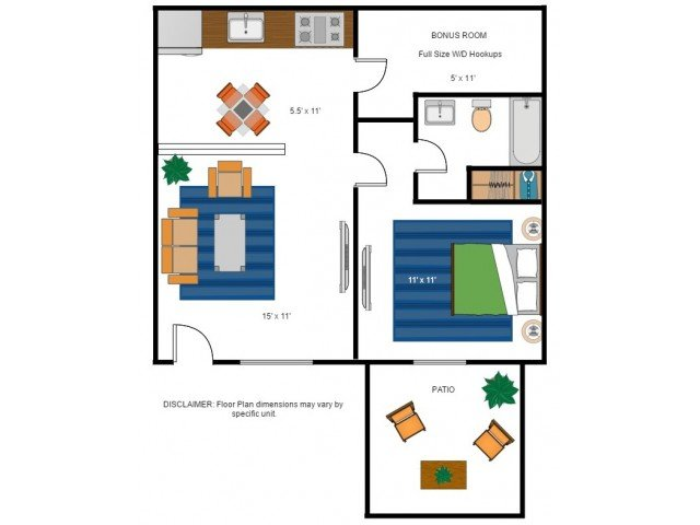 1 Bedroom 1 Bathroom Apartment for rent at Bentwood Apartments in Gainesville, FL