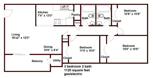 3 Bedrooms 2 Bathrooms Apartment for rent at Stratford Hills & The Stratford On Mlk in Chapel Hill, NC