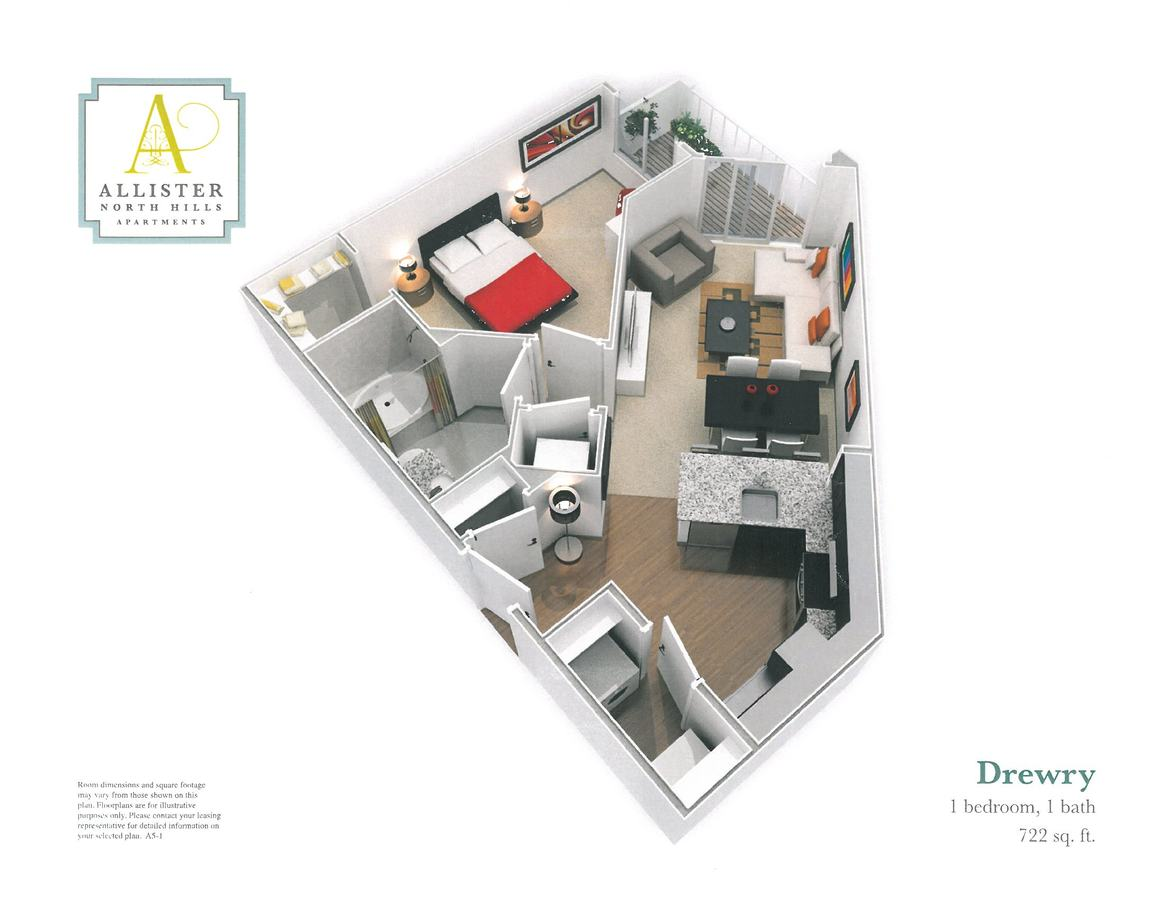 1 Bedroom 1 Bathroom Apartment for rent at Allister North Hills in Raleigh, NC