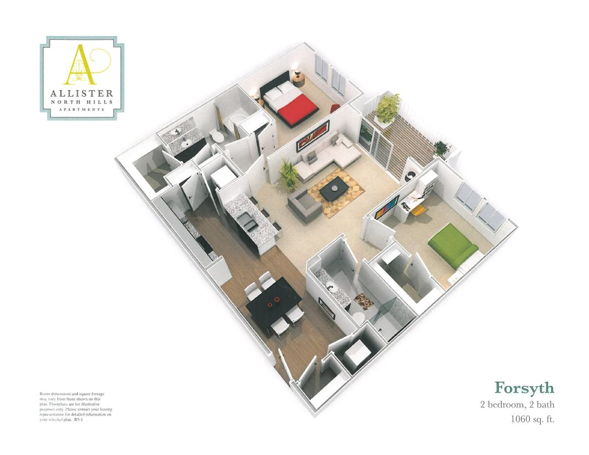 2 Bedrooms 2 Bathrooms Apartment for rent at Allister North Hills in Raleigh, NC