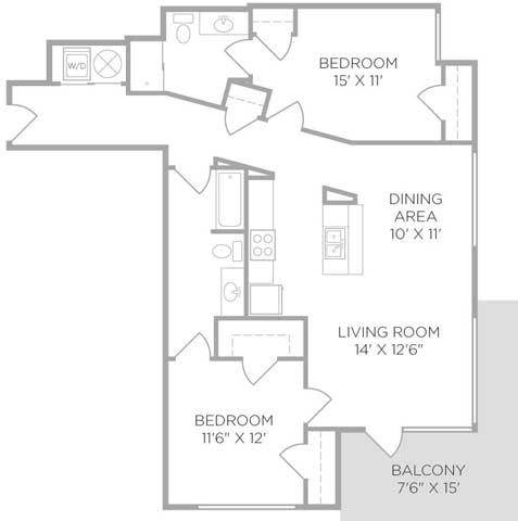 2 Bedrooms 2 Bathrooms Apartment for rent at U Square in Cincinnati, OH