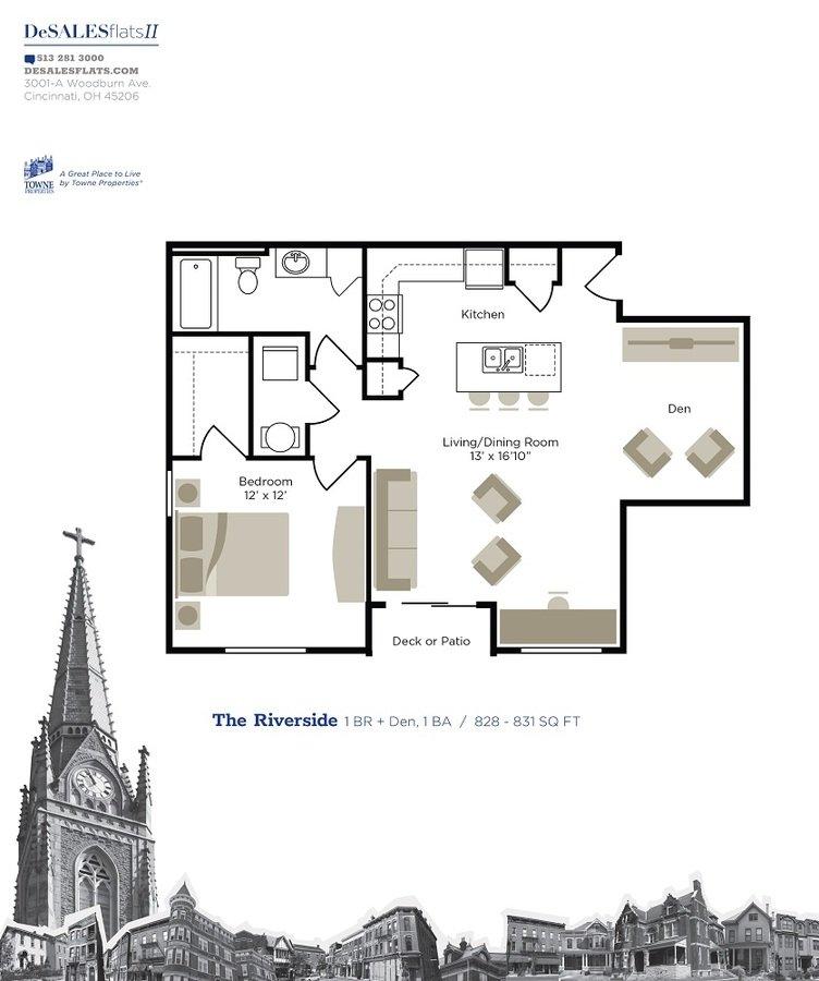 1 Bedroom 1 Bathroom Apartment for rent at Desales Flats Apartments in Cincinnati, OH
