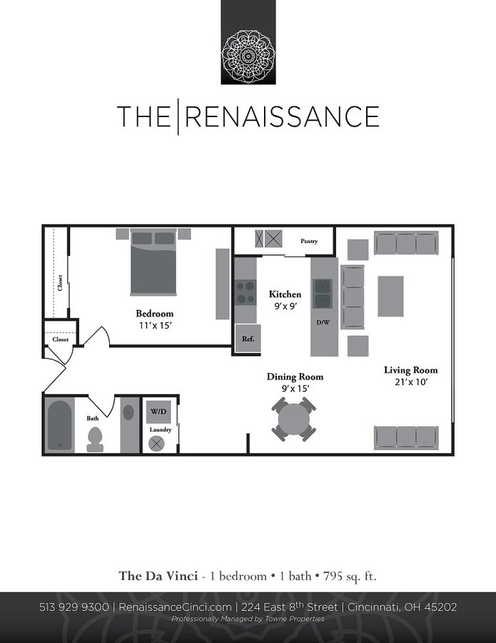 1 Bedroom 1 Bathroom Apartment for rent at Renaissance At The Power Building in Cincinnati, OH
