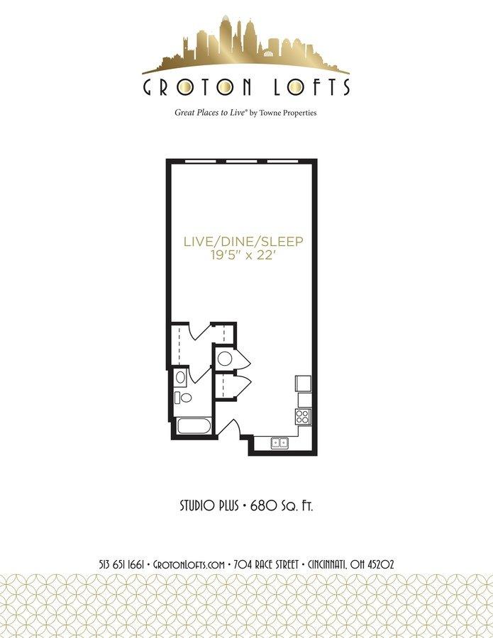 Studio 1 Bathroom Apartment for rent at Groton Lofts in Cincinnati, OH