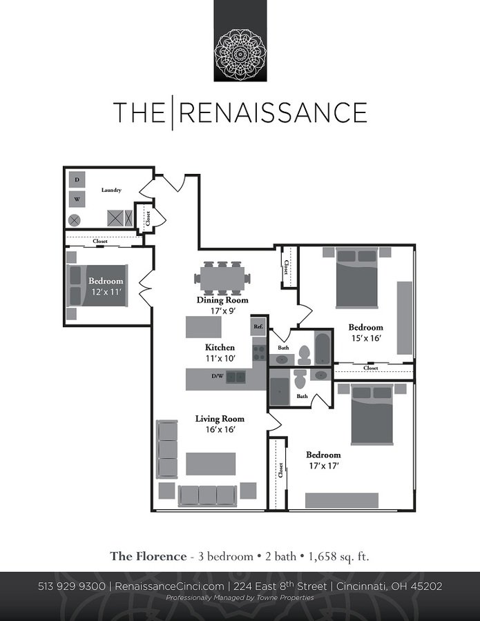 3 Bedrooms 2 Bathrooms Apartment for rent at Renaissance At The Power Building in Cincinnati, OH