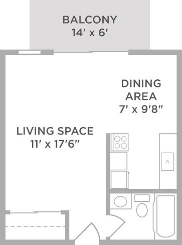 Studio 1 Bathroom Apartment for rent at Lakota Lake in West Chester, OH