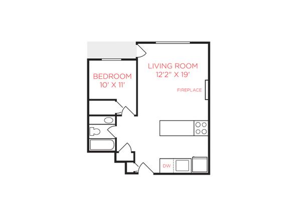 1 Bedroom 1 Bathroom Apartment for rent at Mt. Adams Apartments in Cincinnati, OH