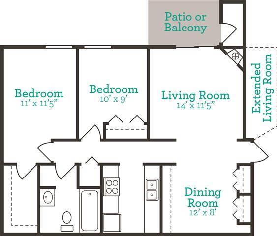 2 Bedrooms 1 Bathroom Apartment for rent at Teal Run in Indianapolis, IN