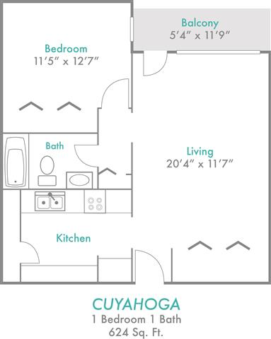 1 Bedroom 1 Bathroom Apartment for rent at Rivers Edge in Dayton, OH