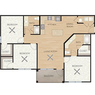 3 Bedrooms 2 Bathrooms Apartment for rent at Wiregrass At Stone Oak in San Antonio, TX