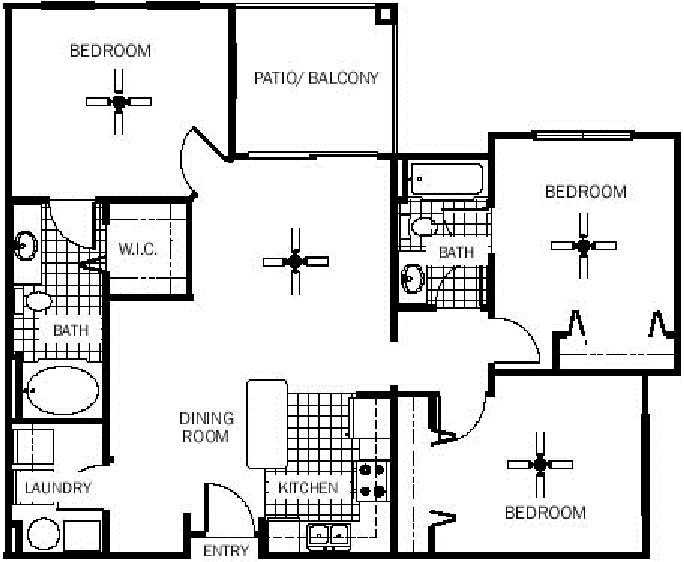 3 Bedrooms 2 Bathrooms Apartment for rent at Wildflower Apartments in Gainesville, FL
