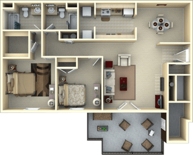 2 Bedrooms 2 Bathrooms Apartment for rent at Eagle's Landing in Tallahassee, FL