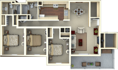 3 Bedrooms 2 Bathrooms Apartment for rent at Eagle's Landing in Tallahassee, FL