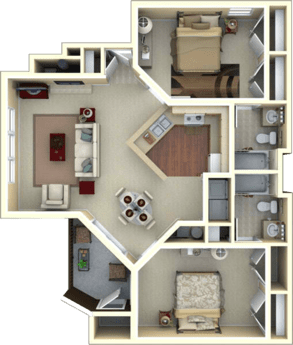 2 Bedrooms 2 Bathrooms Apartment for rent at Azalea Place in Tallahassee, FL