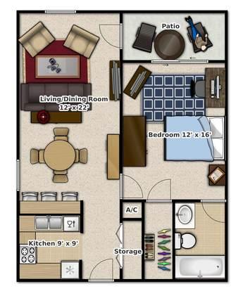1 Bedroom 1 Bathroom Apartment for rent at Tivoli Apartments in Gainesville, FL