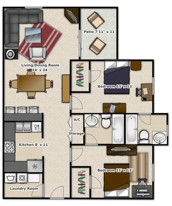 2 Bedrooms 2 Bathrooms Apartment for rent at Tivoli Apartments in Gainesville, FL