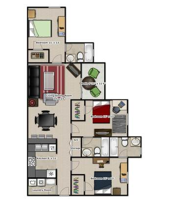 3 Bedrooms 3 Bathrooms Apartment for rent at Tivoli Apartments in Gainesville, FL