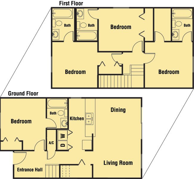 4 Bedrooms 3 Bathrooms Apartment for rent at Lone Oak Condominiums in Tallahassee, FL